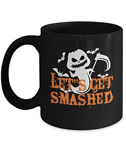 Shirt White Funny Halloween LET S GET SMASHED Pumpkin Coffee Mug 11oz Black