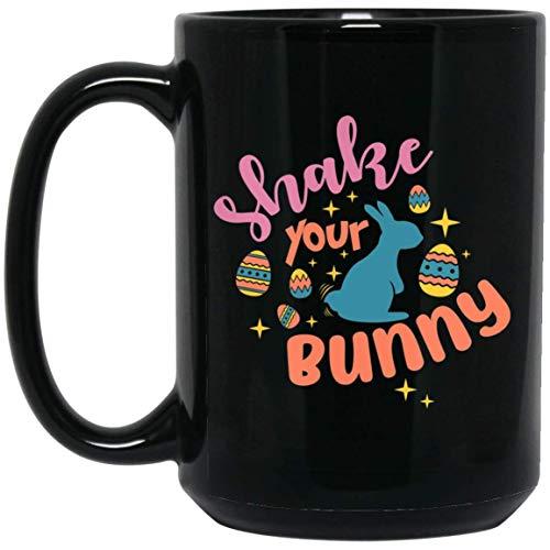 Shake Your Bunny Happy Easter Coffee Mug 15 oz Black Mug for Man and Women