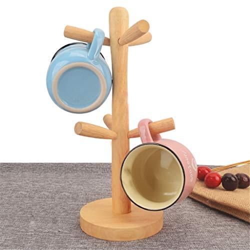 Barcley Stability Wooden Coffee Mug Storage Rack Tree Organic Wodden Mug Holder Mug HookMug StandCoffee Cup Dryer with 6 Hooks Multicolor