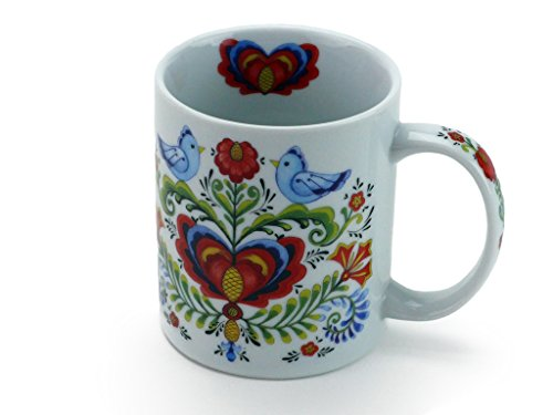Rosemaling Motif with Lovebirds Coffee Mug