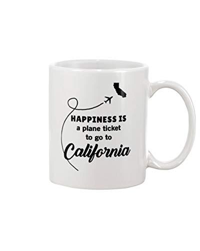 Happiness Is A Plane Ticket To Go To California Coffee Mug 11oz - Mug