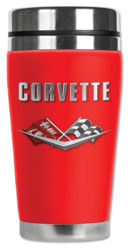 Mugzie 1961 Corvette C2 Logo Travel Mug with Insulated Wetsuit Cover 16 oz Black