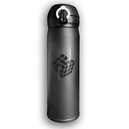 Rubiks Cube Logo Travel Mug Office Coffee Tea Water Bottle Cups Stainless Steel Cup Black