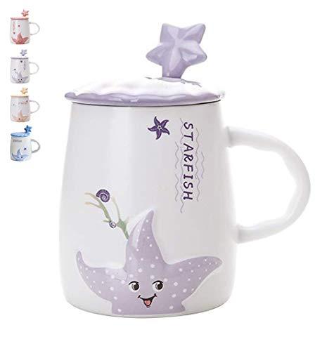 Cute Ceramic Coffee Mugs 14oz Starfish Tea Mug with Lid Spoon Drinking Cup - Dishwasher Microwave Safe Cups Christmas Birthday Valentines Gift Purple