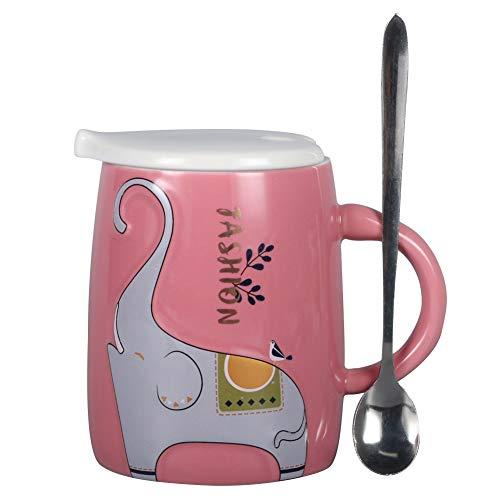 EPFamily Cute Ceramic Mug Cartoon Animal Relief Elephant Coffee Mug With Lid and Spoon Gift For WomenFriendsFamily169ozPink