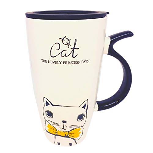 Little-Sweet Huge Travel Mug Cat Large Coffee Mug Cute Ceramic Mug Novelty Morning Mug Tea Cup for Cat Lovers Yellow Tie