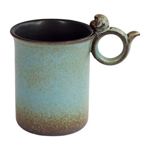 Mountain Set Joyful Monkey Mug 105 Ounce For Coffee Tea Cocoa Svelte Body Cute Ceramic Mug Asian Style