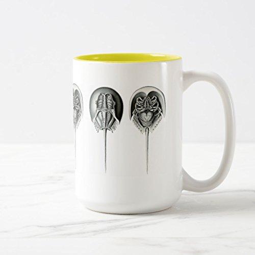 Zazzle Coastal Horseshoe Crab Coffee Mug Yellow Two-Tone Mug 15 oz