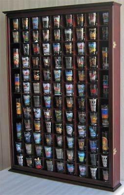 100 Shot Glass Display Case Holder Shadow Box Wall Cabinet with Acrylic Door Mahogany Finish