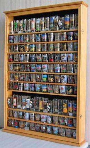 Oak Large 144 Shot Glass Display Case Wall Holder Cabinet 1 Door For 100 Exposure