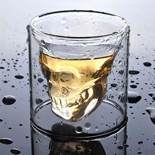 Double Layer Handcraft Skull Skeleton Shot Glass for Vodka Cocktail Beer Whisky Transparent 25 oz