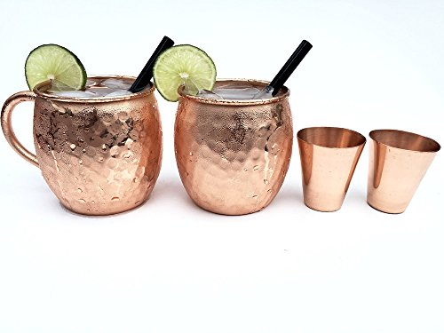 Moscow Mule Copper Mugs Set of 2 - 16 Oz Pure Solid Copper Hammered Mugs - Includes Mugs Copper Shot Glasses and Glass Straws