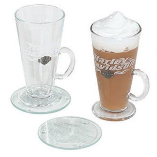 Harley-Davidson Flaming Bar Shield Irish Coffee Mug Gift Set 8 oz HDL-18760