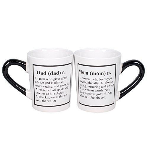 Mom Dad 20 Oz Ceramic Coffee Mugs Gift Set