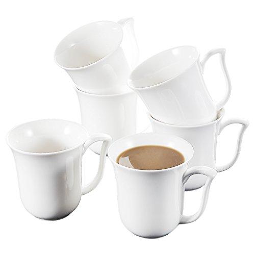 Malacasa Series Amparo 6-Piece 115 Ounce Ivory White Porcelain Cups China Ceramic Cream White MugsSet of 6