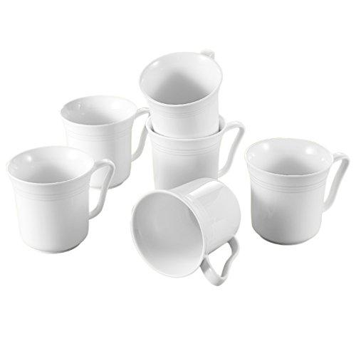Malacasa Series Mario 6-Piece 125 Ounce Ivory White Porcelain Cups China Ceramic Cream White MugsSet of 6
