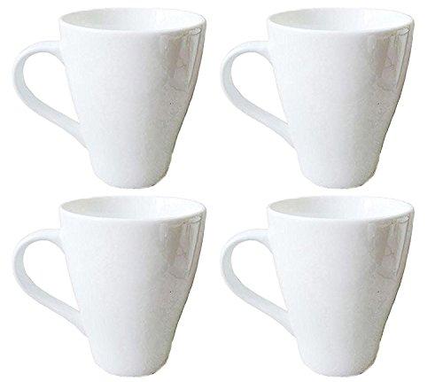 Oxford Porcelain Mugs Set of 4 12 oz Pure White