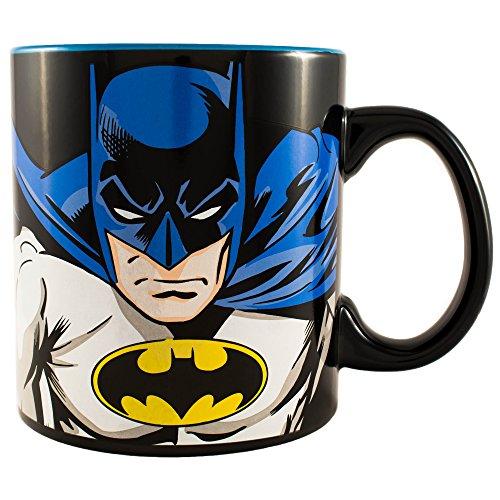 Silver Buffalo BN6534 DC Comics Batman Face and Logo Ceramic Mug 20 oz Multicolor