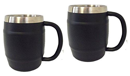 Stainless Steel Double Wall Coffee Mug Barrel Mug 14oz 2 Black