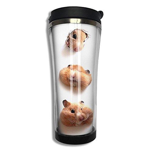 Hamster Cute Flip Top Lid Double Wall Stainless Steel Mug Hot Cold Tumbler Liquid Tight Coffee Mug Vacuum Sealed Drink Bottle