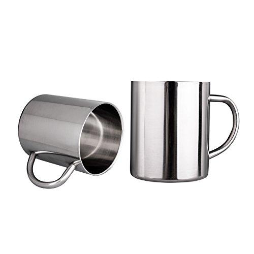 IMEEA 11 Oz 300ml Brushed Stainless Steel Double Wall Coffee Mugs Tea Cups Set of 2