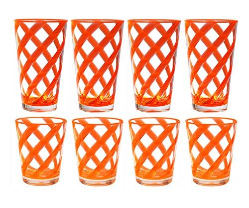 QG 8-Piece 16 oz 22 oz Neon Orange Stripes Acrylic Iced Tea Cup with Clear Heavy Base Plastic Tumbler Set