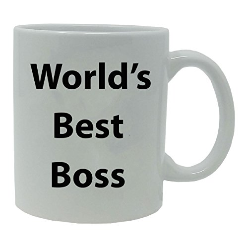Worlds Best Boss 11 oz White Ceramic Coffee Mug with Gift Box - Great Gift for Bosses Bosses Week Birthday or Christmas Gifts