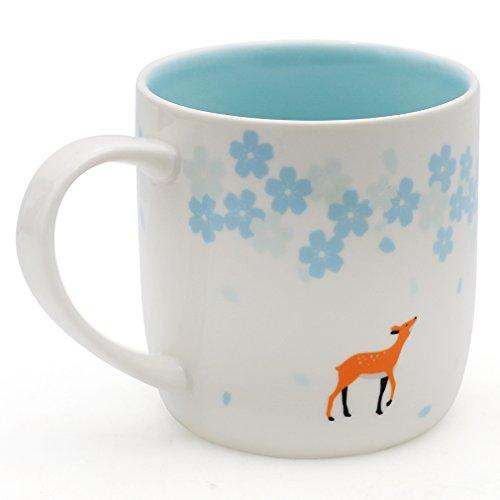 EPFamily Cute Cherry Blossoms Deer Mug Ceramic Coffee Tea Mug Gift for Friends Girls Blue 12 oz