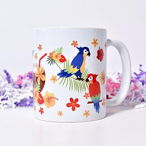 Hawaiian Gift Coffee Mug Parrot Coffee Mug Funny Tea Mug Gift for Children Tropical Ceramic Coffee Mug Glossy White Coffee Mug Dishwasher Microwave Safe Coffee Mugs