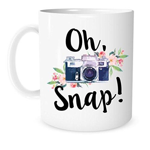 The Coffee Corner - Oh Snap Camera Mug - 11 Ounce White Ceramic Coffee or Tea Mug - Gift for Photographer - Photography Cup - Christmas Present - Photo Editing Mug