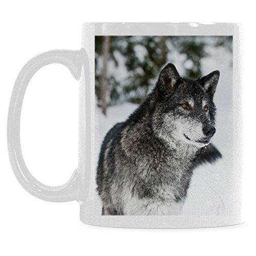 InterestPrint 11 Ounce White Ceramic Dark Grey Wolf Wild Life Funny Travel Coffee Mug Cup with Quotes Sayings Animal Safari Wildlife in Winter Coffee Mug Christmas Birthday Gifts