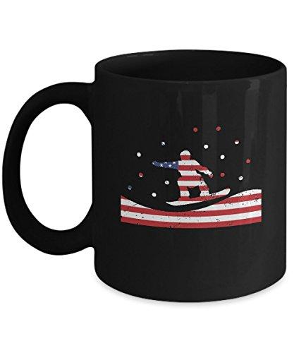 Shirt White American Flag Skiing USA Ski Team Winter Coffee Mug 11oz Black
