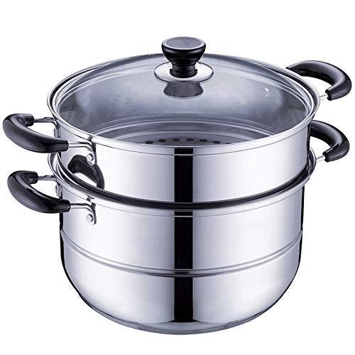 BHDYHM Diameter 2 Tier Stainless Steel Double Boiler and Steamer Set Steamer Cookware Pot Saucepot Multi-Layer Boiler