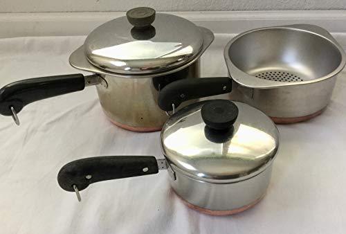 Lot Revere 3qt 2qt 1qt Saucepans 2qt Double Boiler Steamer 2 Lids Copper Bottom