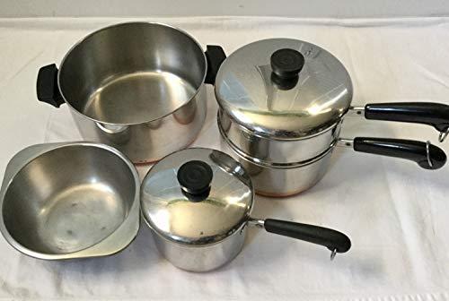 Lot Revere 4qt stock pot 2qt 15qt Saucepans Double Boiler Steamer Lids Copper Bottoms
