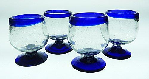 Mexican Shot Glasses Blue Rim Snifter Design Hand Blown 8oz set of 4
