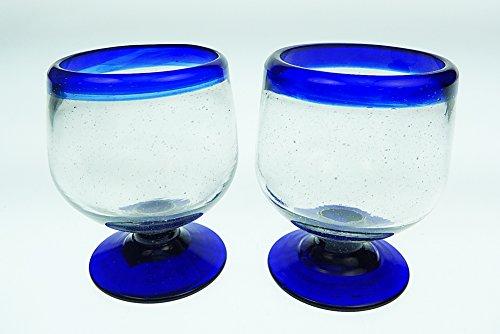 Mexican Shot Glasses Blue Rim Snifter Design Hand Blown set of 2