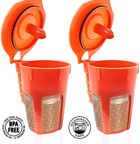 Fill N Save 2 Pack Reusable Carafe K-Cups 24K Gold Reusable coffee filter for the Keurig 20 K200 K300 K400 K500 Series of Machines Refillable K Carafe Pods