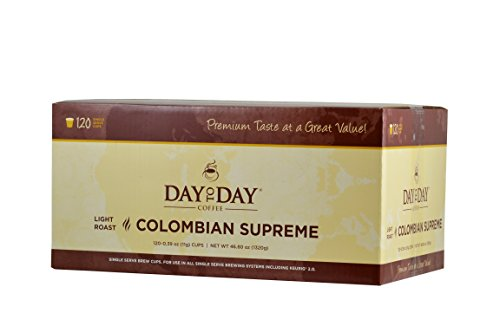 Day to Day Colombian Supreme Single Serve Coffee Cups Fits Keurig K Cup Brewers Box of 120 03920