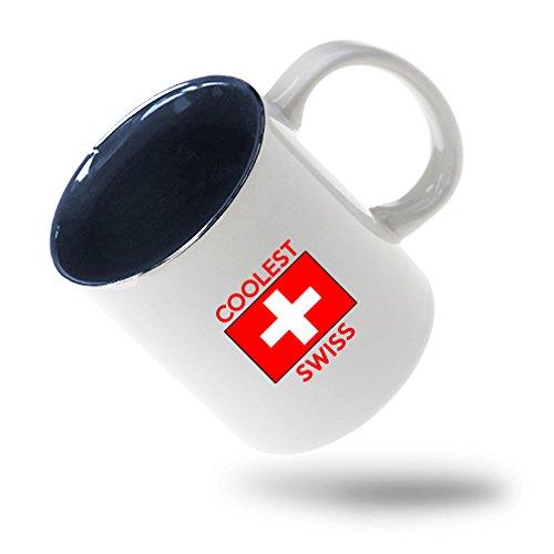 Style In Print Coolest Swiss Coffee Tea Ceramic Inner Color Mug WhiteBlue