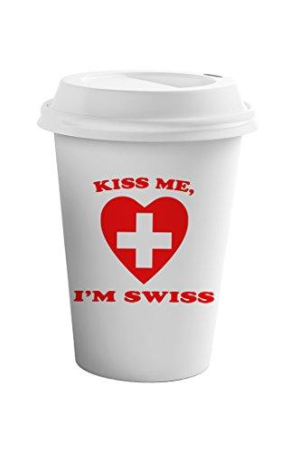 Style In Print Kiss Me I Am Swiss Coffee Ceramic Travel Tumbler Mug 11oz