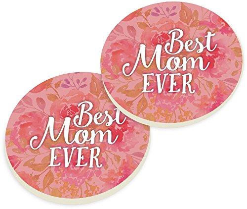 Best Mom Ever Floral Pink Ceramic Car Coaster Pack Set of 2