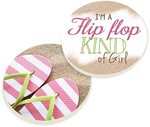 Flip Flop Kind of Girl Pink Flips 2 Piece Ceramic Car Coasters Set