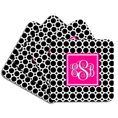 Personalized Monogram Coaster Set - Black Hot Pink Circles - Hardboard