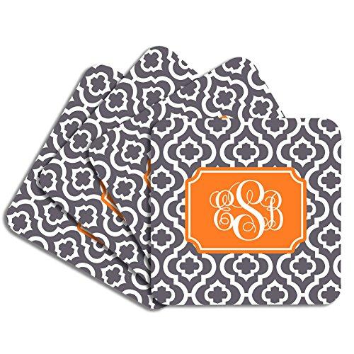 Personalized Monogram Coaster Set - Charcoal Orange Quatrefoil Trellis - Hardboard
