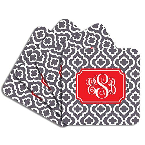 Personalized Monogram Coaster Set - Charcoal Red Quatrefoil Trellis - Hardboard