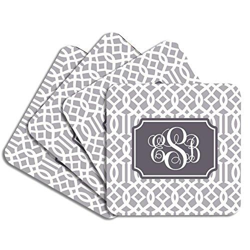 Personalized Monogram Coaster Set - Gray Charcoal Trellis - Hardboard