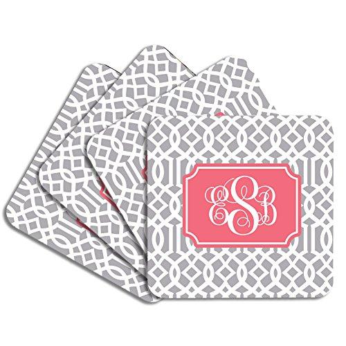 Personalized Monogram Coaster Set - Gray Coral Trellis - Hardboard