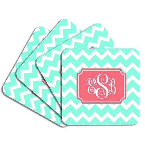 Personalized Monogram Coaster Set - Mint Coral Chevron - Neoprene Rubber