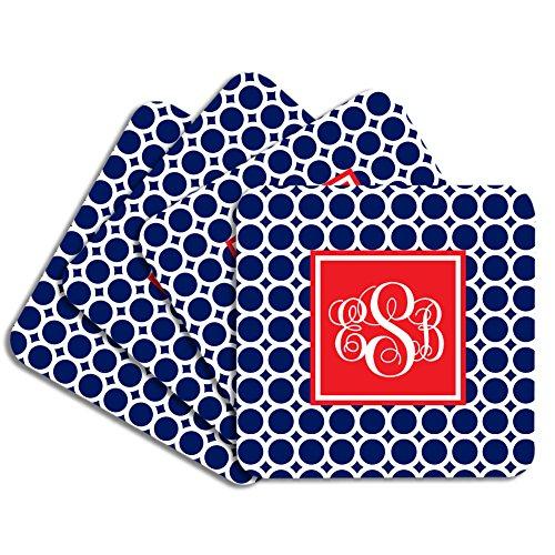 Personalized Monogram Coaster Set - Navy Red Circles - Hardboard